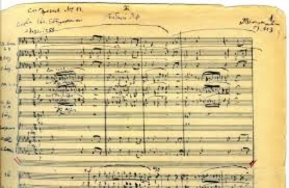Manuscript of the 1st page of the Babi Yar Symphony