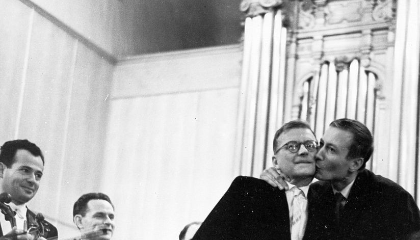 Yevtushenko kissing Shostakovich at the world premiere of the Babi Yar Symphony